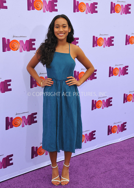 WWW.ACEPIXS.COM<br /> <br /> March 22 2015, LA<br /> <br /> Sydney Park arriving at the 'HOME' Los Angeles Premiere at the Regency Village Theatre on March 22, 2015 in Westwood, California. <br /> <br /> By Line: Peter West/ACE Pictures<br /> <br /> <br /> ACE Pictures, Inc.<br /> tel: 646 769 0430<br /> Email: info@acepixs.com<br /> www.acepixs.com