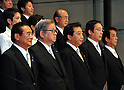 September 2, 2011, Tokyo, Japan - Japan's new Prime Minister Yoshiko Noda, center, poses with his Cabinet ministers for photographers on the steps of the Kantei, prime minister's official residence, in Tokyo on Friday, September 2, 2011. ....The new administration was officially inaugurated with formal ceremonies before Emperor Akihito at the Imperial Palace in Tokyo earlier in the day. With Noda are, front row from left: Kenji Yamaoka, National Public Safety Commission chairman; Shozaburo Jimi, state minister in charge of financial and postal services; Michihiko Kano, minister of Agriculture, Forestry and Fisheries; and Tatsuo Kawabata, minister of Internal Affairs and Communications. Backrow from left: Renho (single name), minister in charge of administrative reform and Takeshi Maeda, minister of Land, Infrastructure, Transport and Tourism. (Photo by Natsuki Sakai/) [3615] -mis-