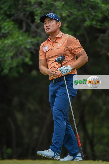 Andrew Yun (USA) watches his tee shot on 14 during Round 3 of the Valero Texas Open, AT&T Oaks Course, TPC San Antonio, San Antonio, Texas, USA. 4/21/2018.<br /> Picture: Golffile | Ken Murray<br /> <br /> <br /> All photo usage must carry mandatory copyright credit (© Golffile | Ken Murray)