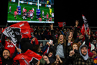 Crusaders fans celebrate a try during the 2018 Super Rugby final between the Crusaders and Lions at AMI Stadium in Christchurch, New Zealand on Sunday, 29 July 2018. Photo: Joe Johnson / lintottphoto.co.nz