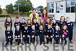 Junior Infants who started school at Scoil Erc Ardfert on Friday with their teacehrs. Front l-r: Sean Kearney,Emmy Dowling,John McCarthy,Anthony Kevin Lyne,Noah James Griffin,Emma Kate Lawlor and Brynn Fitzmaurice.Centre: Ruby Wallace,Seadhna Ferrish-O'Ceallaigh,Joe Crosby,Farrah Dillon,Millie Lyons,Aoibhlinn Lyons,Katelyn Griffin,Santana O'Brien,Ella Hayes and Luke Dillon. Back Mary O'Connor (SNA Teacher) and Grace Crowley (teacher)
