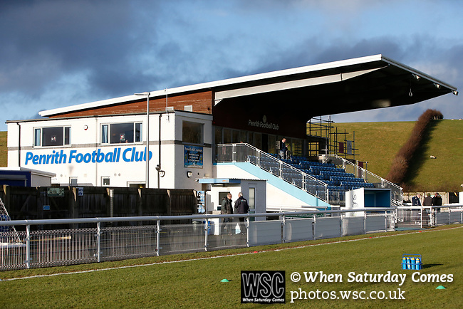 The main stand at Frenchfield Park. Penrith AFC V Hebburn Town, Northern League Division One, 22nd December 2018. Penrith are the only Cumbrian team in the Northern League. All the other teams are based across the Pennines in the north east.<br />