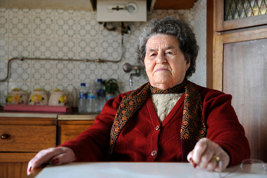 Salvadora Arranz, 87 years old, waits sat the calls of her two sons since a Spanish prison to more than 800 kilometres of distance from the Basque Country in the Basque city of Irun on february 19, 2009. Antxon and Txomin Troitiño are imprisoned in two Spanish prisons to more than 800 km from their home. Salvadora receives a weekly call timed 4 minutes and 58 seconds of each son. (Ander Gillenea / Bostok Photo)