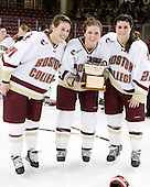 Andrea Green (BC - 21), Danielle Welch (BC - 17), Mary Restuccia (BC - 22) - The Boston College Eagles defeated the Harvard University Crimson 3-1 to win the 2011 Beanpot championship on Tuesday, February 15, 2011, at Conte Forum in Chestnut Hill, Massachusetts.