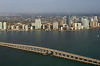 aerial photograph Rickenbacker Causeway bridge Biscayne Bay Miami Florida