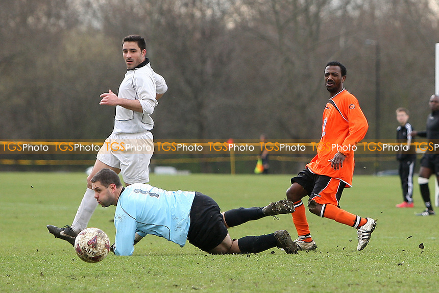 St Lucia score their first goal - St Lucia United (orange) vs Rolls Park - East London Sunday League Senior Cup Semi-Final Football at South Marsh, Hackney Marshes, London - 18/03/12 - MANDATORY CREDIT: Gavin Ellis/TGSPHOTO - Self billing applies where appropriate - 0845 094 6026 - contact@tgsphoto.co.uk - NO UNPAID USE.