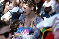 Hundreds of women gather to feed their young children for World Breastfeeding Week in Athens, Greece. Sunday 04 November 2018
