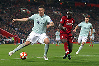 Bayern Munich's Niklas Sule under pressure from  Liverpool's Sadio Mane<br /> <br /> Photographer Rich Linley/CameraSport<br /> <br /> UEFA Champions League Round of 16 First Leg - Liverpool and Bayern Munich - Tuesday 19th February 2019 - Anfield - Liverpool<br />  <br /> World Copyright © 2018 CameraSport. All rights reserved. 43 Linden Ave. Countesthorpe. Leicester. England. LE8 5PG - Tel: +44 (0) 116 277 4147 - admin@camerasport.com - www.camerasport.com