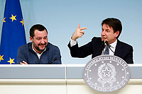 Matteo Salvini and Giuseppe Conte <br /> Rome January 14th 2019. Press conference of the Minister of the Internal Affairs, of the Premier and of the Minister of Justice.<br /> Foto Samantha Zucchi Insidefoto