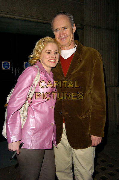 "HELEN DALLIMORE & NIGEL PLANER .The ""Wicked"" cast change VIP press night at the Apollo Victoria Theatre, London, England..April 12th, 2007 .half length purple satin jacket brown .CAP/CAN.©Can Nguyen/Capital Pictures"