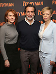 "Holley Fain, Brian d'Arcy James and Emily Bergl attends the ""The Ferryman"" cast change photo call on January 17, 2019 at the Sardi's in New York City."
