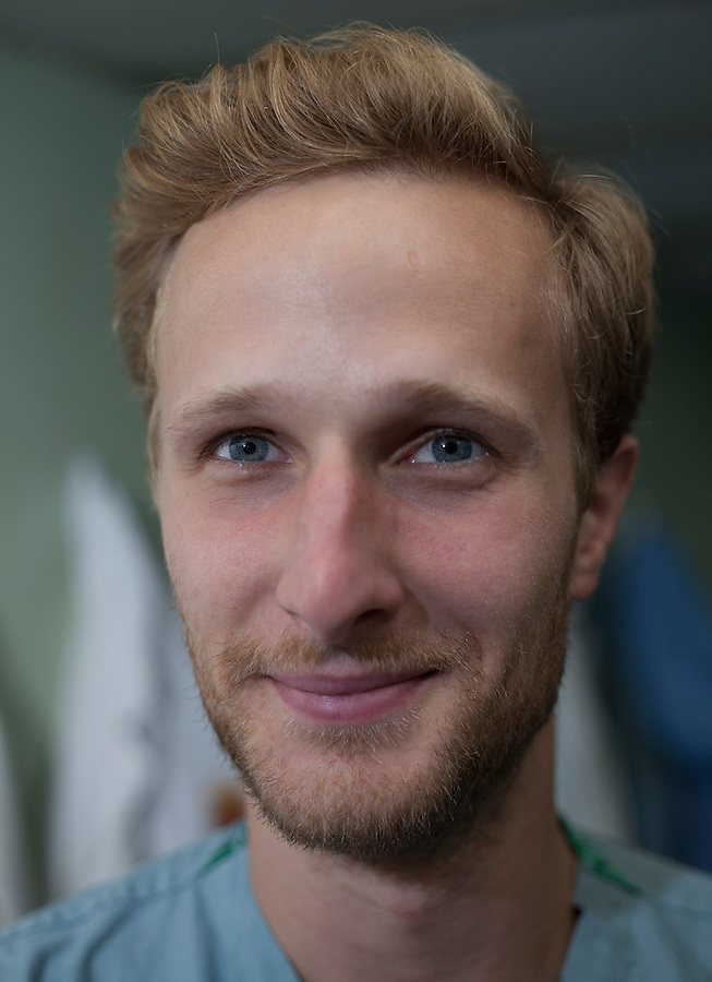 Evan Prokuski, RN, from Chicago, has six years experience in MICU and OR. This is his first mission with Project Hope, and first experience working and living on a U.S. Navy Ship. While onboard he is assigned to DSS. <br />