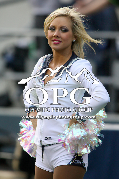 November 07, 2010:  Seattle Seahawks cheerleaders entertained the crowd during the game against the New York Giants at Quest Field in Seattle, WA.  New York won 41-7 over Seattle.