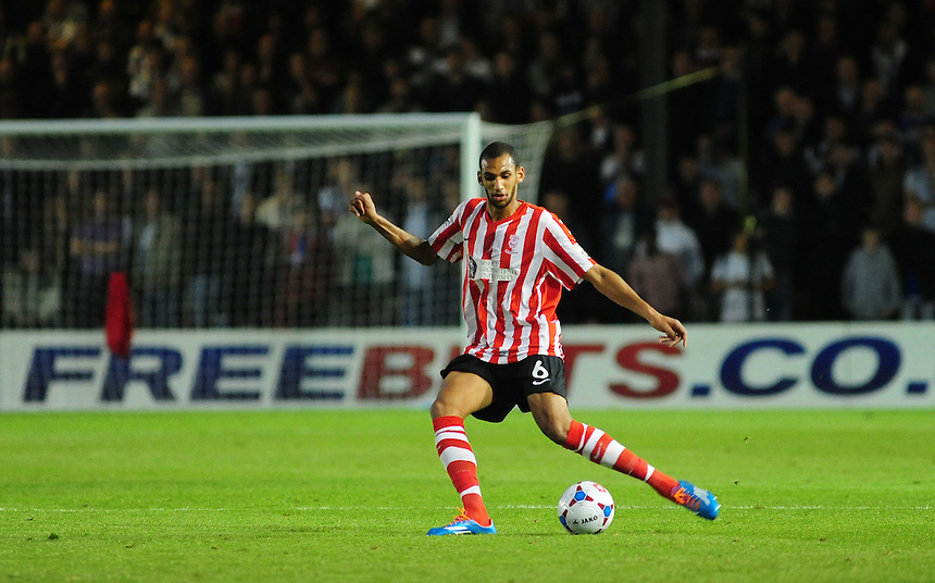 Lincoln City's Tony Diagne<br /> <br /> Photo by Chris Vaughan/CameraSport<br /> <br /> Football - English Football Vanarama Conference Premier League - Lincoln City v Grimsby Town - Tuesdayb9th September 2014 - Sincil Bank - Lincoln<br /> <br /> &copy; CameraSport - 43 Linden Ave. Countesthorpe. Leicester. England. LE8 5PG - Tel: +44 (0) 116 277 4147 - admin@camerasport.com - www.camerasport.com