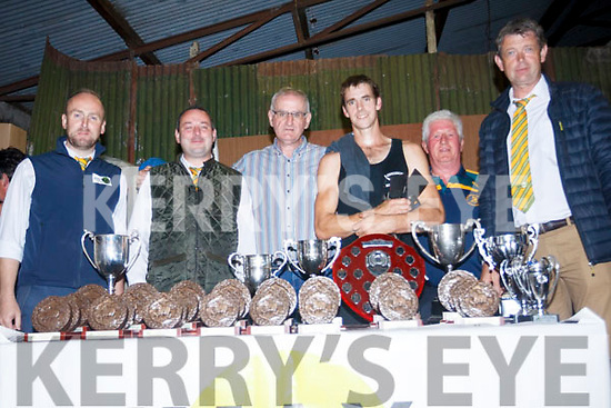 Sponsors of the Top of Coom Shearing on Sunday with World record holder Ivan Scott. <br /> left to right Neil Acheson, James Foley (Animax) Terence O'Shea (Animal Health Care), shearer Ivan Scott and Michael Walsh Irish Team Manager and Flor Ryan (Animax)