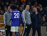 Hamza Chodhury of Leicester City walks past Brendan Rogers manager of Leicester City following his red card during the Premier League match at Molineux, Wolverhampton. Picture date: 14th February 2020. Picture credit should read: Darren Staples/Sportimage