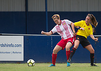 Eva Ramsey of Stevenage Ladies holds off Chloe Bassett of Watford Ladies during the pre season friendly match between Stevenage Ladies FC and Watford Ladies at The County Ground, Letchworth Garden City, England on 16 July 2017. Photo by Andy Rowland / PRiME Media Images.