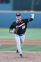 Zack Reser (38) of the Oregon State Beavers pitches during a game against the UCLA Bruins at Jackie Robinson Stadium on April 4, 2015 in Los Angeles, California. UCLA defeated Oregon State, 10-5. (Larry Goren/Four Seam Images)
