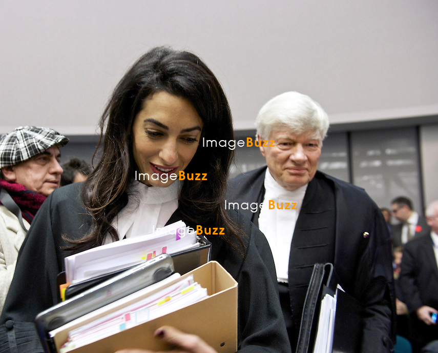 Amal Clooney &agrave; la Cour europ&eacute;enne des droits de l&rsquo;Homme de Strasbourg, lors de l'audience de Grande Chambre dans l&rsquo;affaire Perin&ccedil;ek.<br /> France, Strasbourg, 28 janvier 2015.<br /> Amal Clooney, a member of a legal team representing for Armenia, at the European Court of Human rights in Strasbourg, eastern France, Wednesday, Jan 28, 2015. Amal Clooney, the wife of George Clooney, is among the lawyers arguing at the European Court of Human Rights against a Turkish man convicted in Switzerland for denying the 1915 Armenian genocide. Armenia, which argues that denying the genocide should be a crime as denying the Holocaust is in many European countries, is challenging a decision that ruled the man&rsquo;s right to free expression was violated.<br /> France, Strasbourg, 28 January 2015.