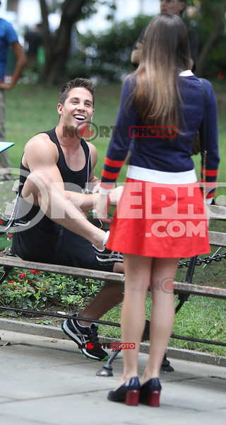 August 12, 2012 Dean Geyer, Lea Michele shooting on location for  Glee at City Hall Park  in New York City.Credit:© RW/MediaPunch Inc. /NortePHOTO.com