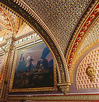 Detail of the ornamented vaulted ceiling of the Sanctuario de Nuestra Morelia in Mexico