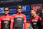 Trek-Segafredo team including John Degenkolb (GER) and Koen De Kort (NED) at sign on before the start of Gent-Wevelgem in Flanders Fields 2017, running 249km from Denieze to Wevelgem, Flanders, Belgium. 26th March 2017.<br /> Picture: Eoin Clarke | Cyclefile<br /> <br /> <br /> All photos usage must carry mandatory copyright credit (&copy; Cyclefile | Eoin Clarke)