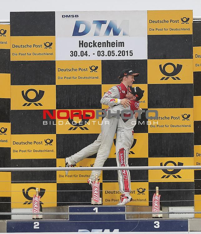 DTM 2015, 01.Lauf Hockenheimring, 01.05. - 03.05.15 <br /> Podium:<br /> Sieger Mattias Ekstr&ouml;m (SWE#5) Audi Sport Team Abt Sportsline Audi RS 5 DTM , 2. Platz f&uuml;r Edoardo Mortara (ITA#48) Audi Sport Team Abt Audi RS 5 DTM <br /> <br /> <br /> <br /> Foto &copy; nordphoto /  Bratic