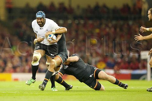 01.10.2015. Cardiff, Wales. Rugby World Cup. Wales versus Fiji. No stopping Fiji lock Tevita Cavubati.
