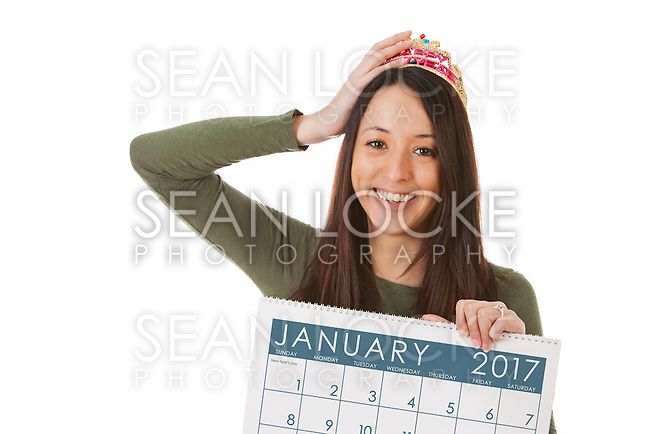 Series with a young man and woman celebrating New Year's Eve, some with 2016 as the subject, isolated on white.