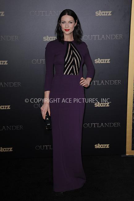 WWW.ACEPIXS.COM<br /> April 1, 2015 New York City<br /> <br /> Caitriona Balfe attending STARZ Original series &ldquo;Outlander&rdquo; celebration of &ldquo;Droughtlander&rdquo; at a special premiere screening of &ldquo;The Reckoning&rdquo; at The Ziegfeld Theater on  April 1, 2015 in New York City.<br /> <br /> Please byline: Kristin Callahan/AcePictures<br /> <br /> ACEPIXS.COM<br /> <br /> Tel: (646) 769 0430<br /> e-mail: info@acepixs.com<br /> web: http://www.acepixs.com