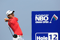 Jeunghun Wang (KOR) during the second round of the NBO Open played at Al Mouj Golf, Muscat, Sultanate of Oman. <br /> 16/02/2018.<br /> Picture: Golffile | Phil Inglis<br /> <br /> <br /> All photo usage must carry mandatory copyright credit (&copy; Golffile | Phil Inglis)