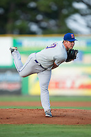 Kingsport Mets starting pitcher Jordan Humphreys (10) follows through on his delivery against the Burlington Royals at Burlington Athletic Stadium on July 18, 2016 in Burlington, North Carolina.  The Royals defeated the Mets 8-2.  (Brian Westerholt/Four Seam Images)
