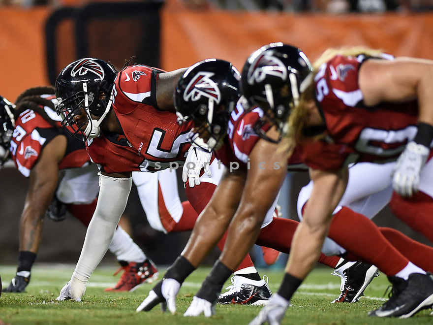 CLEVELAND, OH - AUGUST 18, 2016: Defensive tackle Jonathan Babineaux #95 of the Atlanta Falcons awaits the snap in the first quarter of a preseason game on August 18, 2016 against the Cleveland Browns at FirstEnergy Stadium in Cleveland, Ohio. Atlanta won 24-13. (Photo by: 2016 Nick Cammett/Diamond Images) *** Local Caption *** Jonathan Babineaux