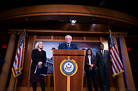 United States Senator Bernie Sanders (Independent of Vermont) delivers remarks alongside United States Representative Ro Khanna (Democrat of California), United States Representative Barbara Lee (Democrat of California), United States Representative Pramila Jayapal (Democrat of Washington), United States Senator Kirsten Gillibrand (Democrat of New York), United States Senator Patrick Leahy (Democrat of Vermont), United States Senator Chris Van Hollen (Democrat of Maryland), and United States Senator Maria Cantwell (Democrat of Washington) during a press conference on Capitol Hill in Washington D.C., U.S., on Thursday, January 9, 2020.  The lawmakers are working together on legislation that would prevent a war between the United States and Iran without congressional authorization.  <br /> <br /> Credit: Stefani Reynolds / CNP/AdMedia