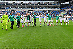 11.05.2019, PreZero Dual Arena, Sinsheim, GER, 1. FBL, TSG 1899 Hoffenheim vs. SV Werder Bremen, <br /> <br /> DFL REGULATIONS PROHIBIT ANY USE OF PHOTOGRAPHS AS IMAGE SEQUENCES AND/OR QUASI-VIDEO.<br /> <br /> im Bild: Die Bremer Mannschaft jubelt bei den Fans<br /> <br /> Foto &copy; nordphoto / Fabisch