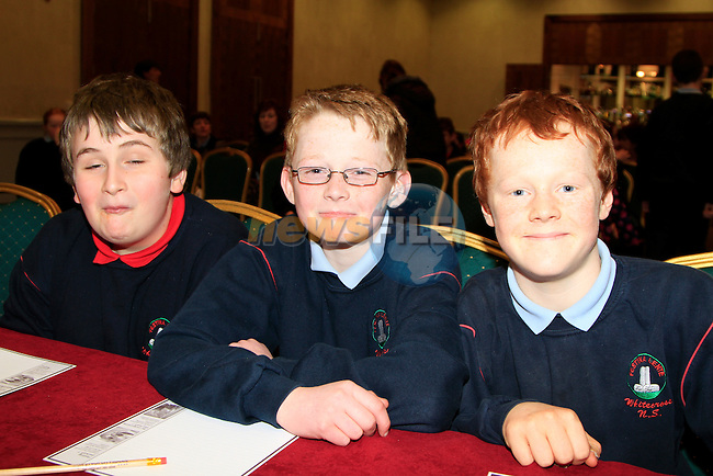 Patrick Prendergast, Daniel Molloy and Daniel Grey.at the East Meath Credit Union table Quiz in the City North Hotel..Picture Fran Caffrey www.newsfile.ie