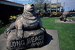 Downtown Long Beach along the Washington Coast with carved wooden sculptures of Sea Lion Washington State USA