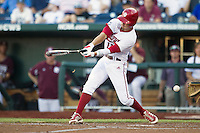 Indiana Hoosiers outfielder Wil Nolden (11) swings the bat against the Mississippi State Bulldogs during Game 6 of the 2013 Men's College World Series on June 17, 2013 at TD Ameritrade Park in Omaha, Nebraska. The Bulldogs defeated Hoosiers 5-4. (Andrew Woolley/Four Seam Images)