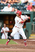 Springfield Cardinals outfielder Rafael Ortega (5) at bat during a game against the Frisco Rough Riders on June 1, 2014 at Hammons Field in Springfield, Missouri.  Springfield defeated Frisco 3-2.  (Mike Janes/Four Seam Images)