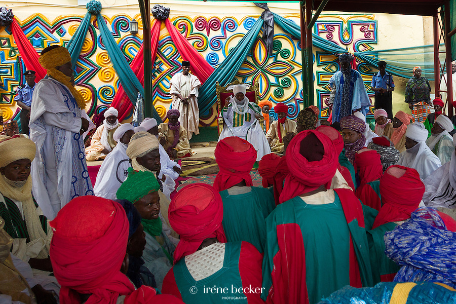 The emir's palace after Friday prayers. Zaria, Nigeria.