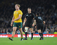 Dan Carter of New Zealand shows his delight as his drop goal goes between the posts during the Rugby World Cup Final between New Zealand and Australia - 31/10/2015 - Twickenham Stadium, London<br /> Mandatory Credit: Rob Munro/Stewart Communications