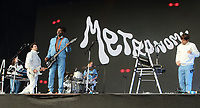 Metronomy performing live on stage during the All Points East Festival at Victoria Park in London. May 26th 2019<br />