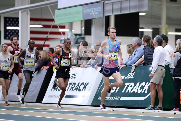 WINSTON-SALEM, NC - FEBRUARY 08: Sam Atkin #10 leads Athanas Kioko #5 of Campbell University in the Men's Camel City Elite 3000 Meters at JDL Fast Track on February 08, 2020 in Winston-Salem, North Carolina.