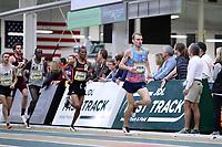 WINSTON-SALEM, NC - FEBRUARY 08: Sam Atkin #10 leads Athanas Kioko #5 of Campbell University in the Men's Camel City Elite 3000 Meters at JDL Fast Track on February 08, 2020 in Winston-Salem, North Carolina.