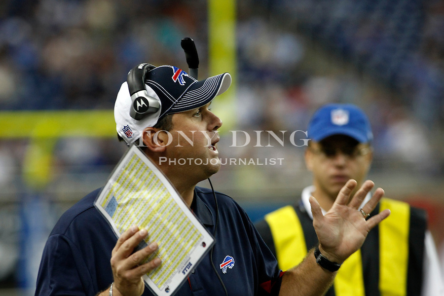 Buffalo Bills offensive quality control coach Kevin Patullo shouts from the sidelines in the second quarter of a preseason NFL football game with the Detroit Lions, Thursday,  Sept. 2, 2010, in Detroit. (AP Photo/Tony Ding)