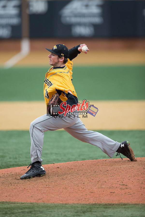 Towson Tigers relief pitcher Matt Allen (30) in action against the Wake Forest Demon Deacons at Wake Forest Baseball Park on March 1, 2015 in Winston-Salem, North Carolina.  The Demon Deacons defeated the Tigers 15-8.  (Brian Westerholt/Sports On Film)