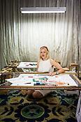 Swedish designer, Sophia Edstrand of Sophia 203 poses for a portrait in her workshop in Jaipur, Rajasthan, India.