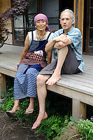 Organic farm owners, Deco Nakajima and Everett Kennedy Brown, Brown's Field, Isumi, Chiba Prefecture, Japan, August 8, 2009.The organic farm introduces healthy and sustainable living in the Japanese countryside. It is staffed by the Brown family and volunteers from around the world.