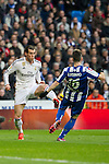 Real Madrid´s Gareth Bale and Deportivo de la Coruna's Luisinho during 2014-15 La Liga match between Real Madrid and Deportivo de la Coruna at Santiago Bernabeu stadium in Madrid, Spain. February 14, 2015. (ALTERPHOTOS/Luis Fernandez)