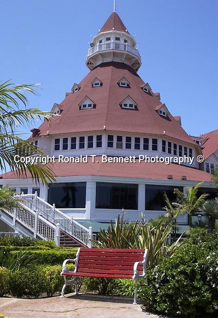 "Red Bench Hotel del Coronado ""The Del,"" across San Diego Bay Coronado California, California Fine Art Photography by Ron Bennett,"